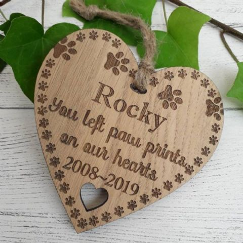 Pet Remembrance Paw Prints on Our Hearts Memorial Personalised Wooden Heart